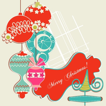 Christmas background, scrap booking elements  Vector