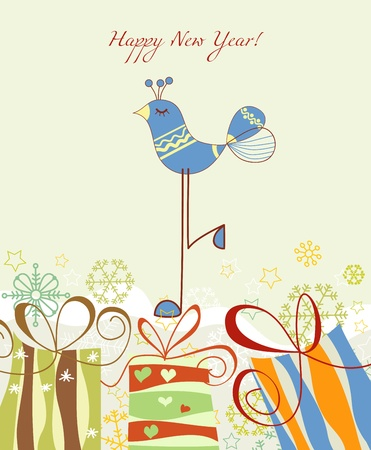 New year card, gift boxes and cute blue bird  Vector