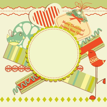christmas tag: Scrapbook design elements on Christmas theme Illustration