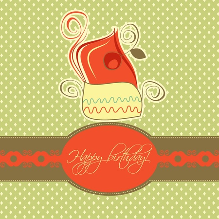 Cupcake card retro design  Vector