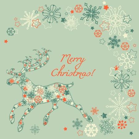 Retro Christmas deer Stock Vector - 10996417