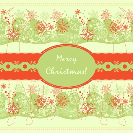 folkart: Christmas greeting card in red and green traditional colors  Illustration