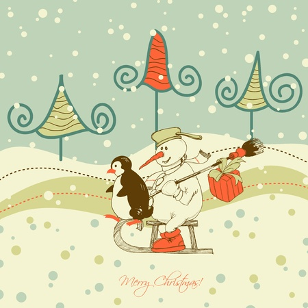 sledge: Cute Christmas greeting card, winter scene  Illustration
