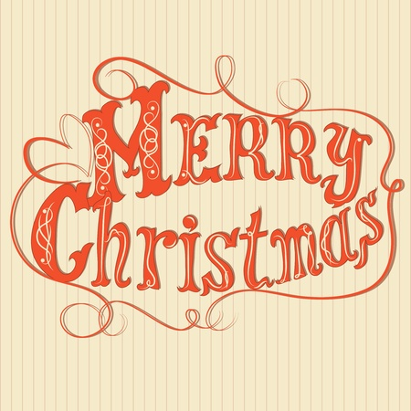 Merry Christmas frame original decorated letters, retro look  Vector