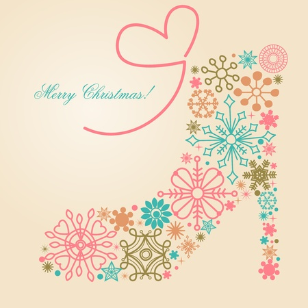 greet card: Christmas shoe made of snowflakes  Illustration