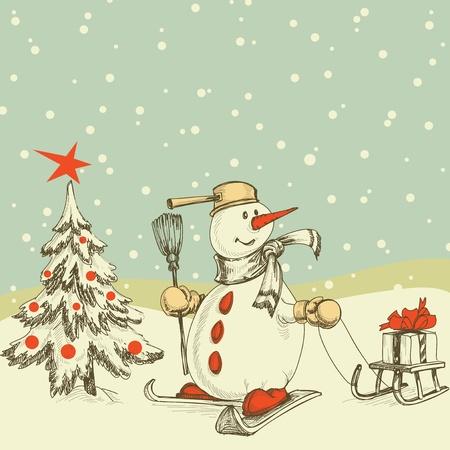 boule de neige: Scène d'hiver d'arbre de Noël et bonhomme de neige drôle Illustration