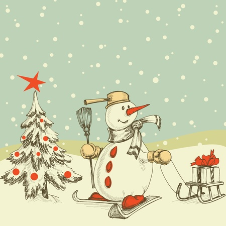Winter scene Christmas tree and funny snowman  Vector