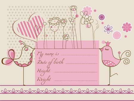 baby announcement: Baby girl cute card