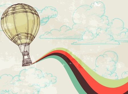 vintage: Retro hot air balloon sky background old paper texture
