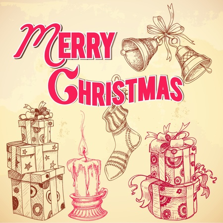 Retro Christmas card Merry Christmas lettering and hand drawn gift boxes, candle, stocking and bells Vector