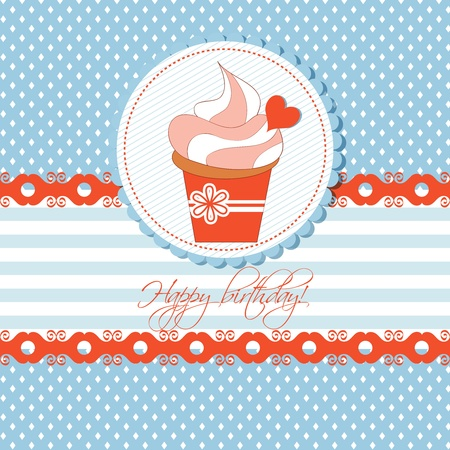 Cupcake greeting card for children Vector