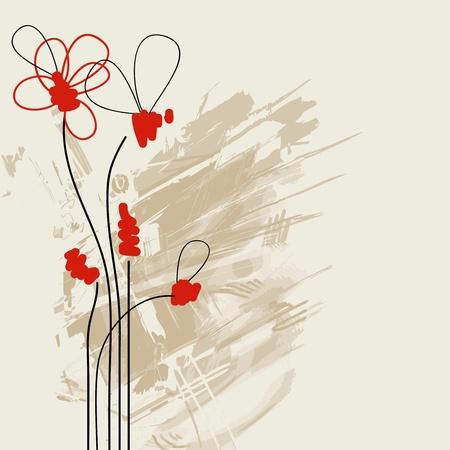 ikebana: Vector grunge floral background