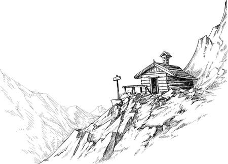 hospedaje: Montaña boceto cabaña