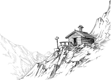 Mountain hut sketch  Vector