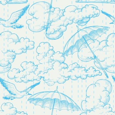 oiseau dessin: Motif de pluie transparente, ciel, nuages, oiseaux et dessin au crayon parapluies Illustration