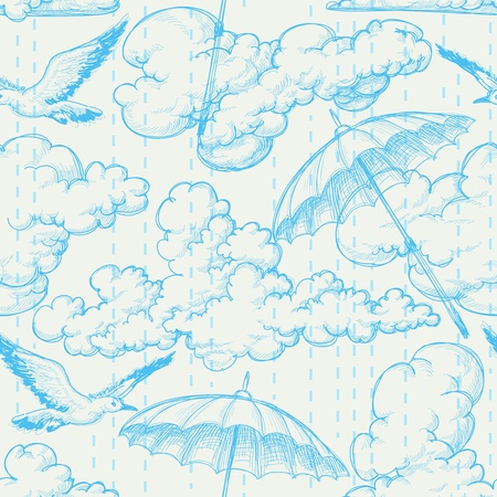 drawing on the fabric: Rain seamless pattern, sky, clouds, birds and umbrellas pencil drawing