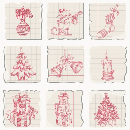 torn stockings: Christmas icons hand drawn on paper