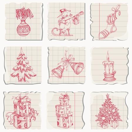 campanas de navidad: Navidad iconos dibujados a mano en papel