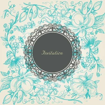 flower sketch: Vintage floral background lace frame Illustration