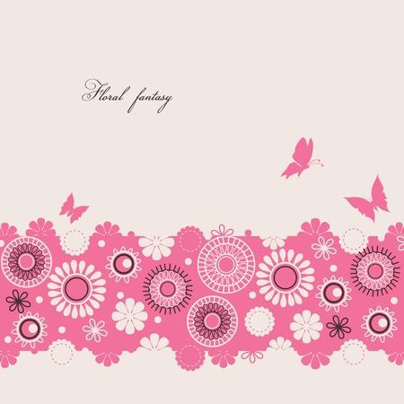 bordures fleurs: Floral background avec des papillons