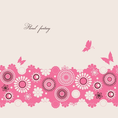 flower drawings: Floral background with butterflies