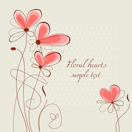 Floral hearts Stock Vector - 11133465