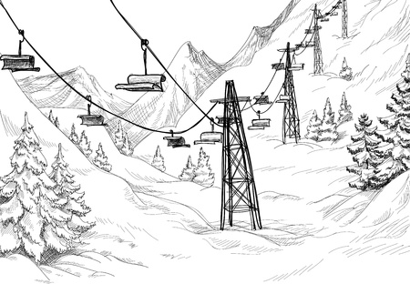 ski resort: Ski lift sketch