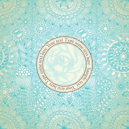 teal background: Vintage floral seamless pattern