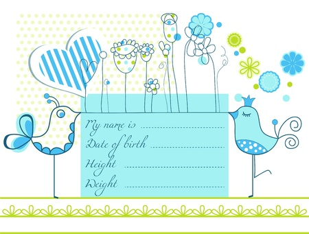 birth announcement: Baby boy arrival cute card