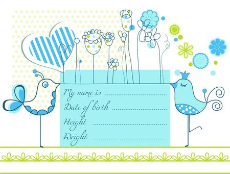 Baby boy arrival cute card Stock Vector - 11275378