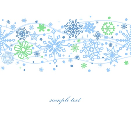 border line: Snowflakes seamless pattern over white