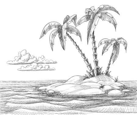 freehand drawing: Tropical island
