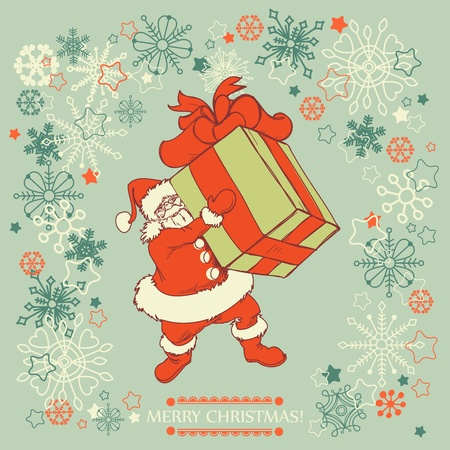 Santa Claus delivering gift  Vector