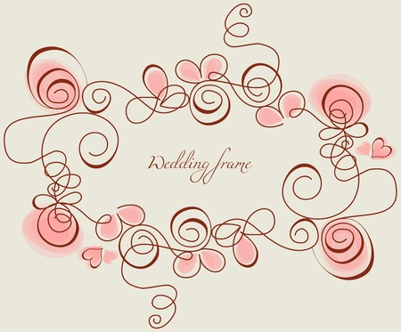 Wedding frame with stylized roses and hearts  Vector