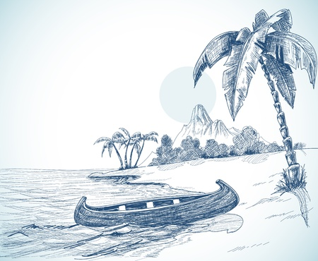 Beach with boat on shore, palm trees and volcano in the background Vector