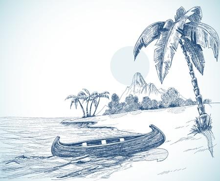 Playa con el barco en la costa, palmeras y un volcán en el fondo Ilustración de vector