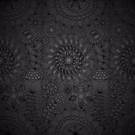 어두워: 꽃 라인 작업 원활한 패턴 일러스트