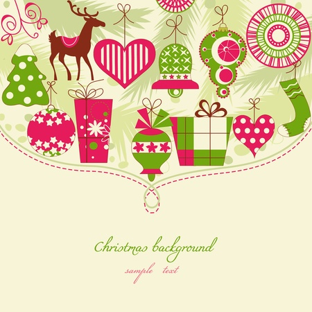 Christmas background in red and green icons  Vector