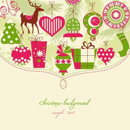 Sfondo Natale nelle icone rosse e verdi Archivio Fotografico - 11377005