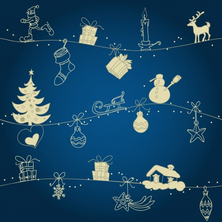 Christmas seamless pattern, hand drawn golden ornaments over dark blue  Vector