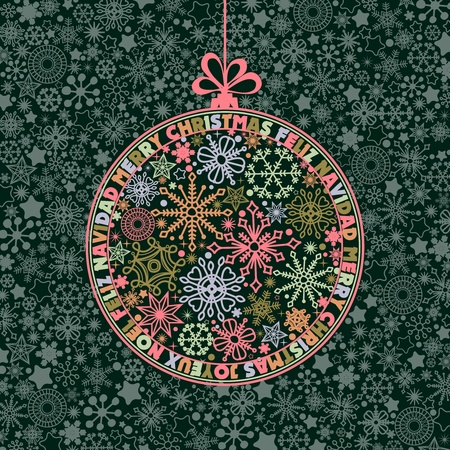 joyeux: Christmas ball of snowflakes mosaic and round text wishes in different languages