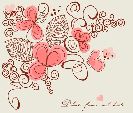 Love decoration, delicate flowers and hearts  Vector