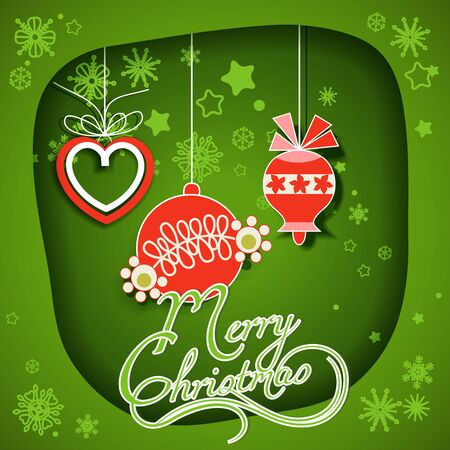 Christmas card, green paper frame and hanging ornaments vector illustration  Vector