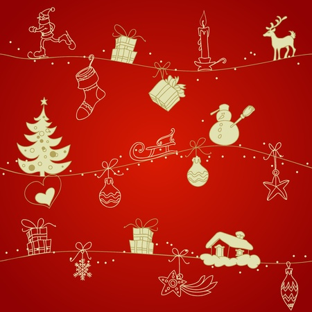 christmas seamless pattern: Red Christmas seamless pattern Illustration