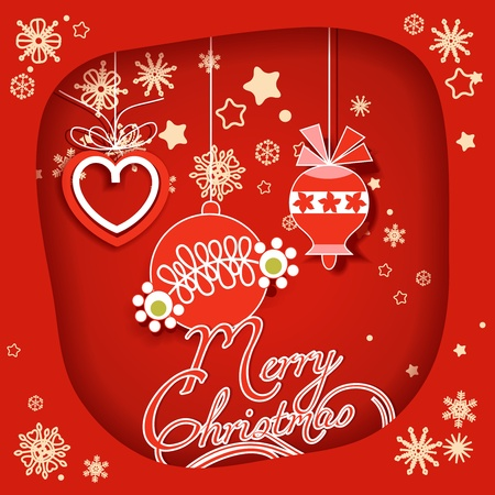 Christmas decorations, red paper frame  Vector