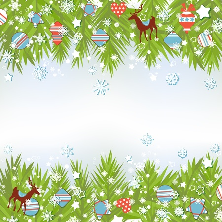margins: Christmas background, fir tree and decorations vector illustration