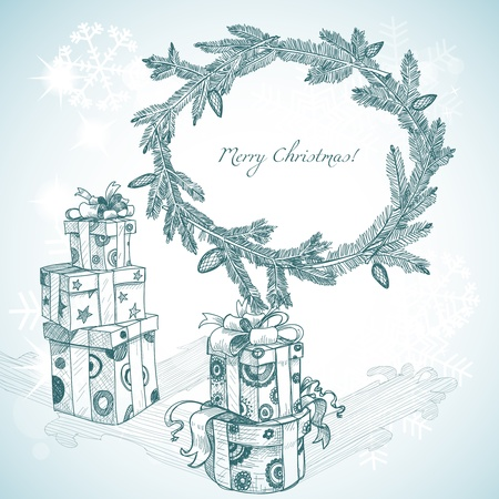Christmas hand drawn gifts and fir tree wreath  Vector