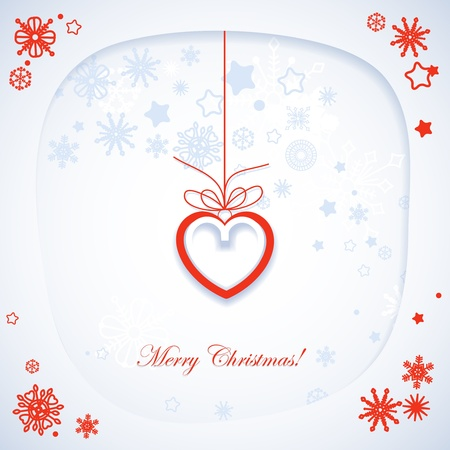 Romantic Christmas card, white paper frame and heart vector illustration  Vector