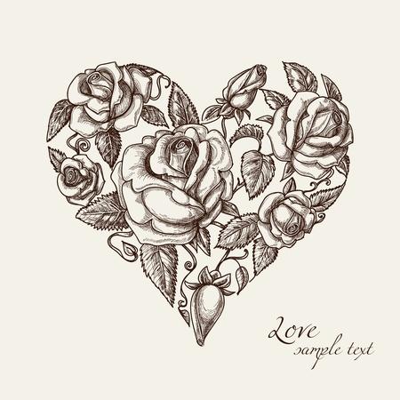 corazon: Corazón de la vendimia de rosas Vectores