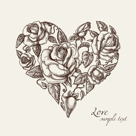Vintage heart of roses Vector